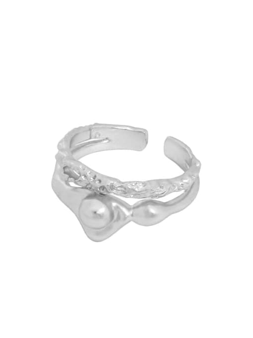 Silver [14 adjustable] 925 Sterling Silver Bead Irregular Vintage Band Ring